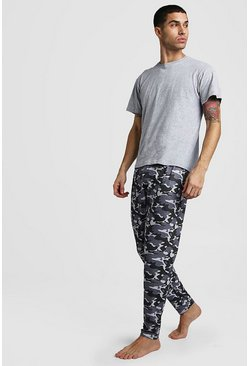 Mens Grey Camo Pant Lounge Set