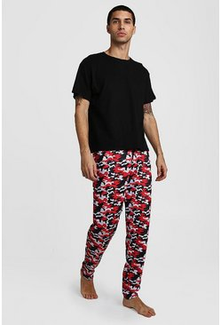 Red Camo Pant Lounge Set