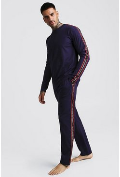 Mens Navy MAN Sport Long Sleeve Cuffed Lounge Set