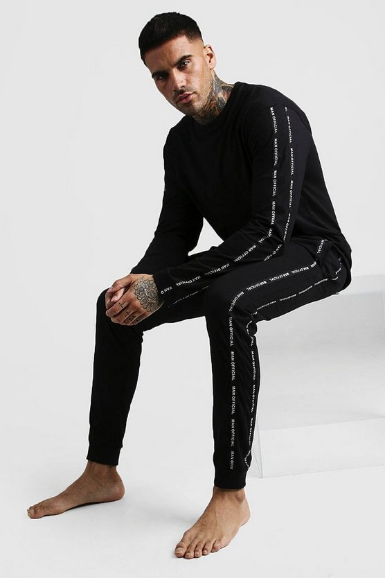 Black MAN Official Tape Long Sleeve Cuffed Lounge Set
