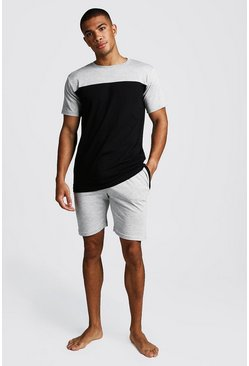 Mens Grey Colour Block Short Lounge Set