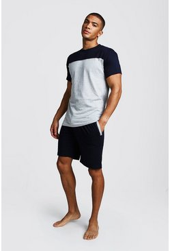 Mens Navy Colour Block Short Lounge Set