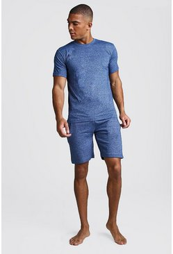 Mens Blue Marl Short Lounge Set