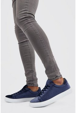 Grey Velvet Lace Up Trainer