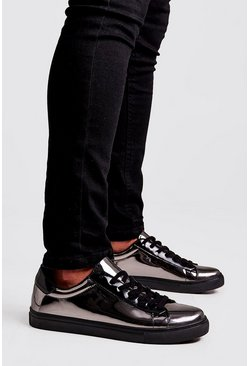 Mens Silver Mirror Shine Lace Up Trainers