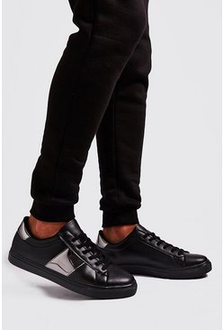 Mens Black Hi Shine Side Tape Trainer