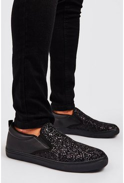 Mens Black Glitter Slip On Trainer