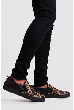 Mens Black Leopard Slip On Trainer