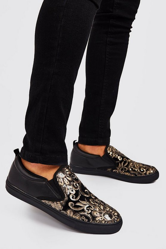 Black Baroque Embellished Ship On Sneakers