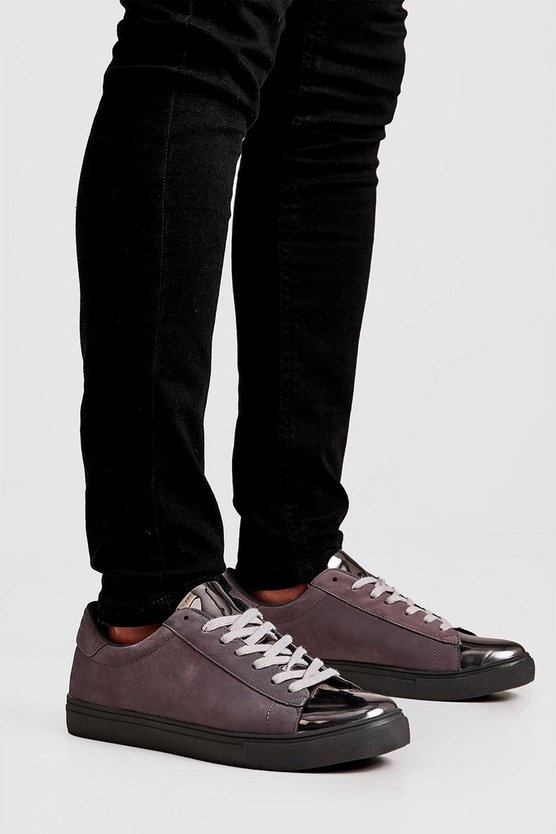 Mens Grey Smart Lace Up Trainer