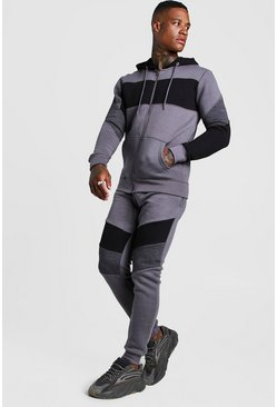 Mens Grey Colour Block Hooded Zip Through Tracksuit