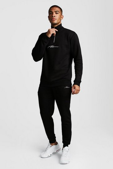 Black MAN Signature Half Zip Funnel Neck Tracksuit