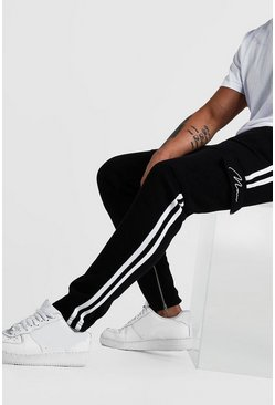 Black MAN Signature Cargo Jogger With Side Tape