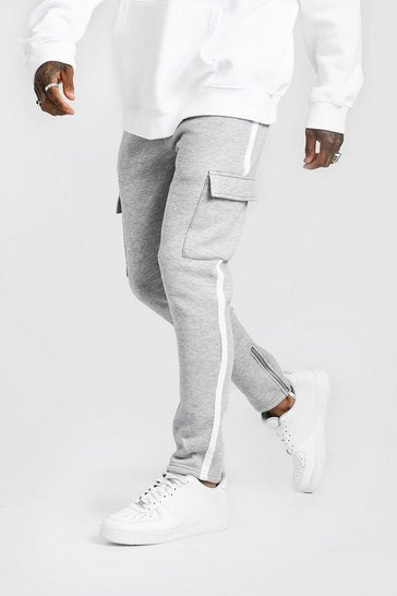 Mens Light grey MAN Signature Cargo Jogger With Side Tape