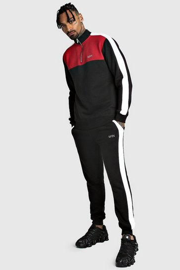 Mens Black Original MAN Half Zip Colour Block Tracksuit