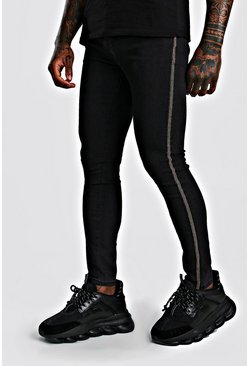 Mens Washed black Premium Super Skinny Jeans With Beaded Side Tape