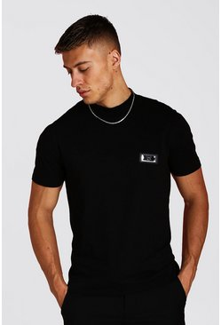 Mens Black Premium Stand Neck T-Shirt With Badge