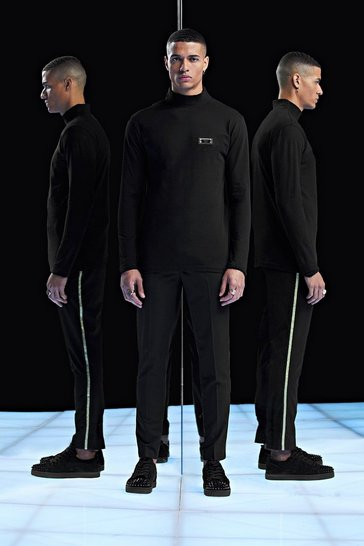 Mens Black Premium Slim Fit Roll Neck Long Sleeve T-Shirt