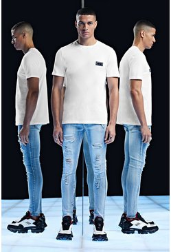 T-shirt coupe Fit avec écusson Premium, Blanc