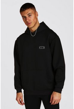Black Premium Loose Fit Scuba Hoodie With Badge
