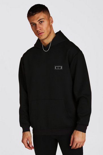 Mens Black Premium Loose Fit Scuba Hoodie With Badge