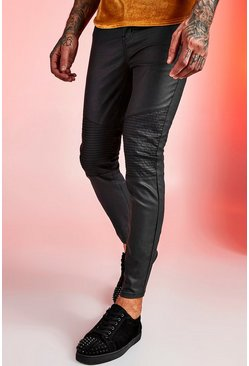 Mens Black Super Skinny Coated Biker Jeans