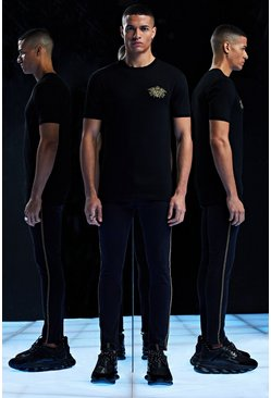 Herr Black Premium Muscle Fit T-Shirt With Embroidery