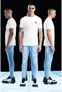 White Premium Muscle Fit T-Shirt With Embroidery