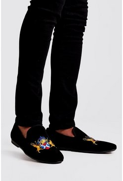 Mens Black Embroidered Velvet Loafer