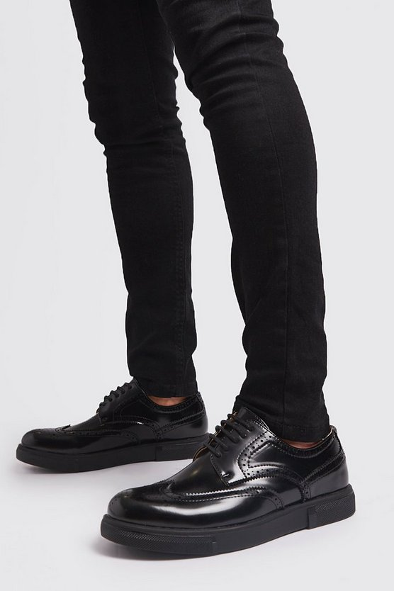 Black Lace Up Brogue Trainer