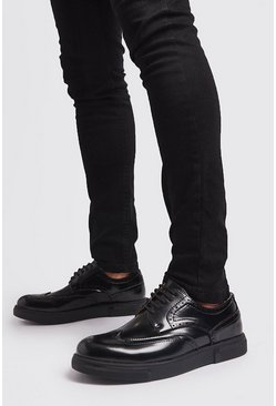 Mens Black Lace Up Brogue Trainer