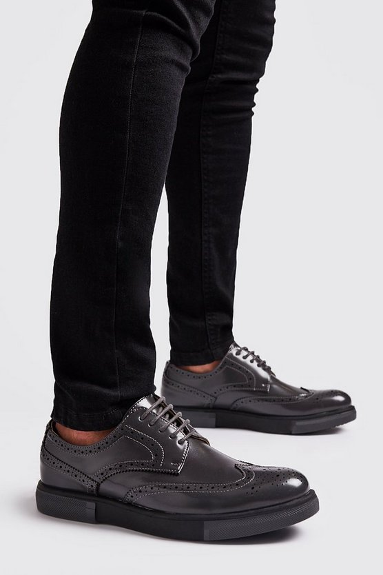 Mens Dark grey Lace Up Brogue Trainers