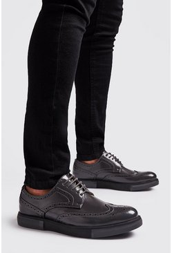 Dark grey Lace Up Brogue Trainers