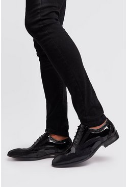 Mens Black Stitch Detail Patent Formals