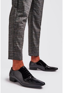 Mens Black Patent Lace Up Formals