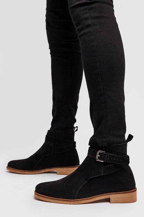 Black Real Suede Buckle Chelsea Boot