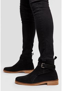 Real Suede Buckle Chelsea Boot, Black