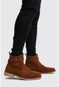 Mens Tan Real Suede Buckle Chelsea Boot