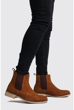 Mens Tan Real Suede Chelsea Boot