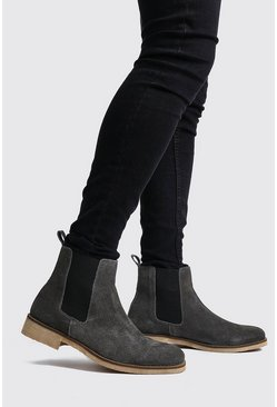 Mens Dark grey Real Suede Chelsea Boot