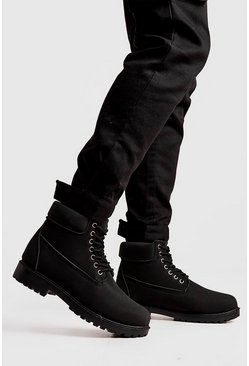 Herr Black Padded Collar Worker Boot