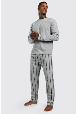 Mens Grey MAN Dash Stripe Lounge Set