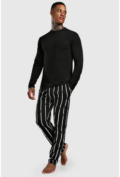Mens Black MAN Dash Stripe Lounge Set