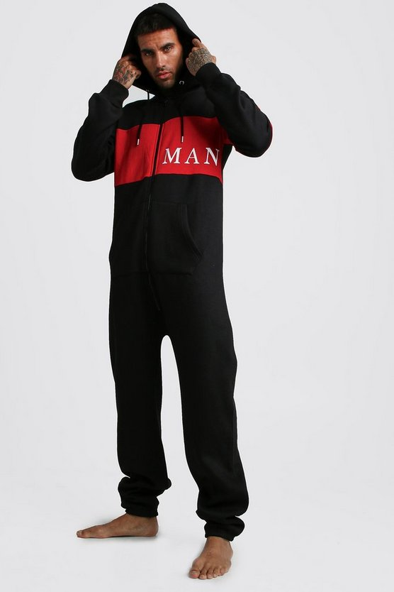 Mens Black MAN Sport Onesie