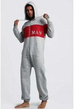 Mens Grey MAN Sport Onesie