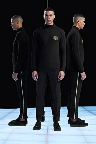 Black Premium Muscle Fit Long Sleeve Roll Neck