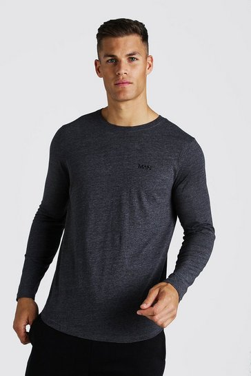 Mens Charcoal MAN Active Curved Hem Long Sleeve Basic T-Shirt