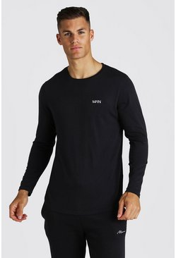 Mens Black MAN Active Long Sleeve Basic T-Shirt