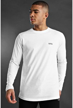 Mens White MAN Active Long Sleeve Basic T-Shirt