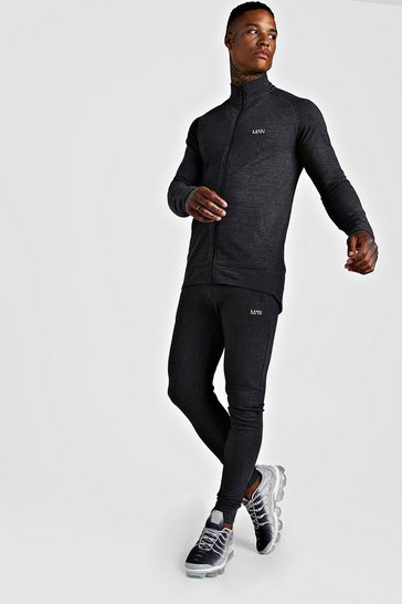Mens Charcoal MAN Active Skinny Fit Tracksuit